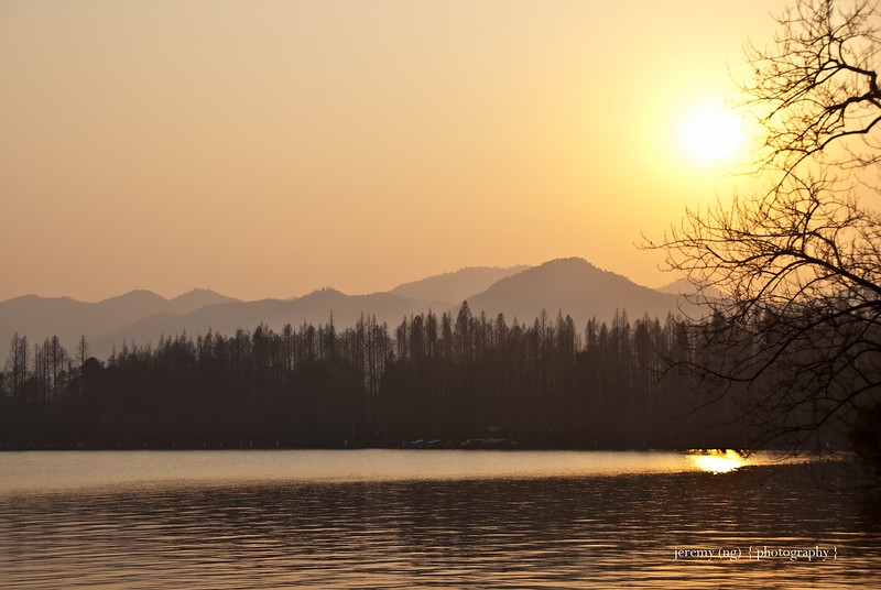 Image of West Lake at sunset